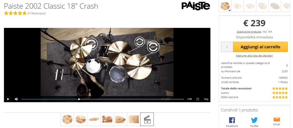 Foto della parte video con un batterista che suona il crash Paiste 2002