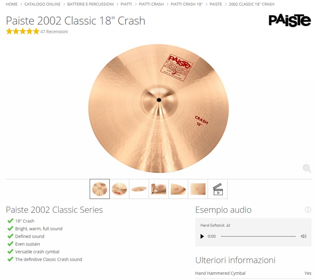 """Scheda di un crash Paiste 2002 da 18"""""""