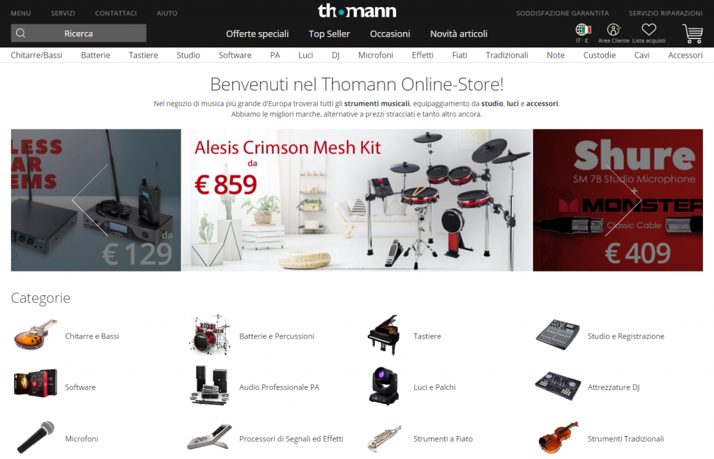 Homepage di Thomann